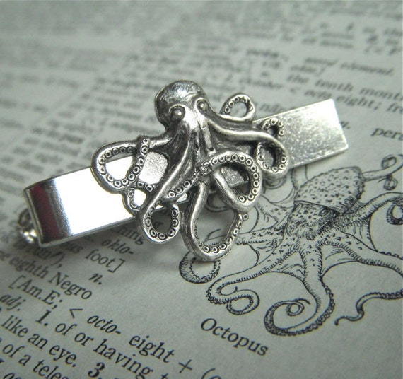 Silver Octopus Men's Tie Clip Nautical Steampunk Style Gothic Victorian Vintage Inspired Men's Tie Bars Men's Accessories Men's Gifts New