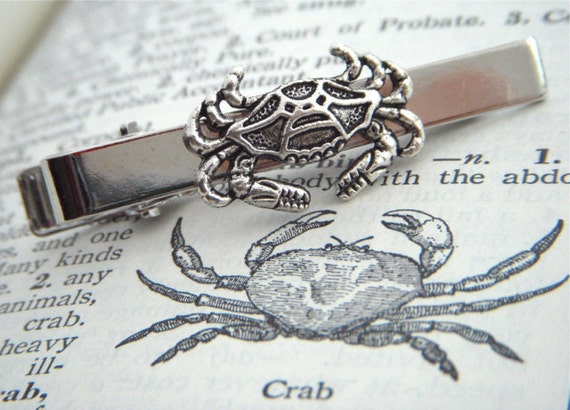 Crab Tie Clip Silver Tie Clip Men's Tie Clip Nautical Sealife Tie Bar By Cosmic Firefly Popular Men's Accessories & Gifts