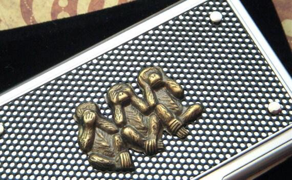 Gothic Steampunk Brass Monkeys Business Card Case Silver & Black Industrial Inspired Men's Accessories Speak No Evil