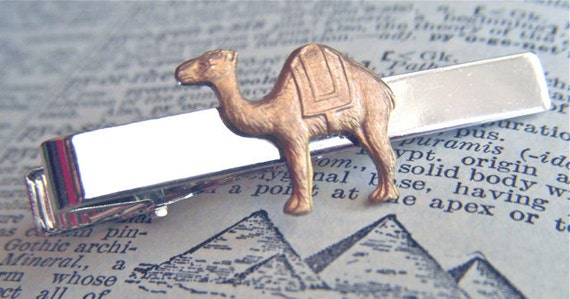 Camel Tie Clip Vintage Inspired Mixed Metals Silver Tie Bar Brass Camel Unique Exotic Steampunk Style Men's Accessories From Cosmic Firefly