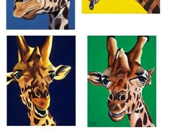 Giraffe Note Cards, Set of 4, Stocking Stuffer - Gifts Under 15, Blank Note Card, Animal Art Notecard