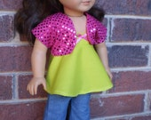 """18"""" Doll Clothes, American Made Girl Pink Sequin Shrug, blue jeans and top, girl doll pants shirt jacket, 18"""" handmade doll clothes"""