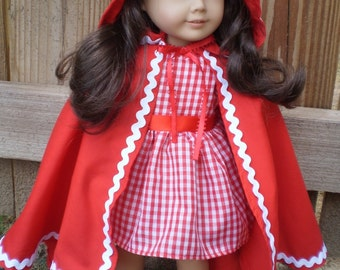 "18"" Girl Doll Costume, Little Red Riding Hood Costume, 18"" Girl Doll Clothes with Shoes, Red and White doll clothes, toys, Red Doll Cape"