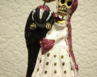 Hot Pink Till Death Do Us Part Dia De Los Muertos Cake Topper - Halloween, Wedding, Engagment Party, Day of the Dead
