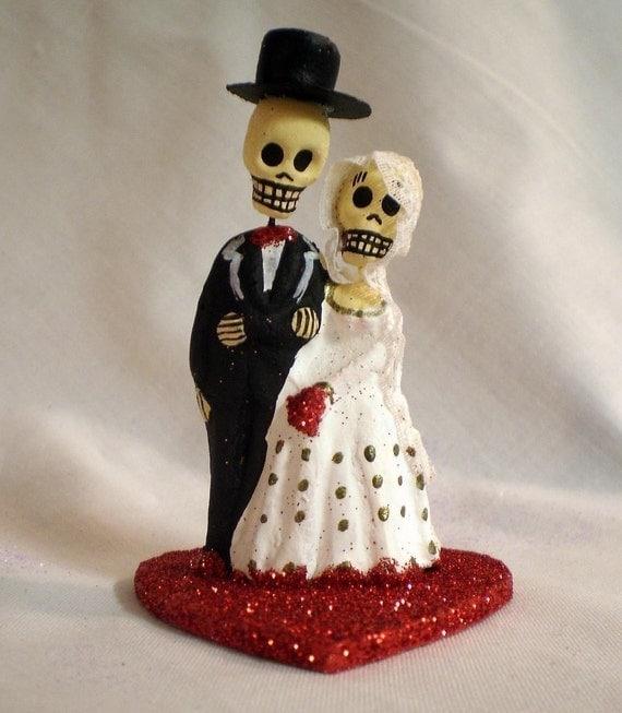 Red Dia De Los Muertos Cake Topper - Wedding, Halloween, Dia De Los Muertos, Day of the Dead