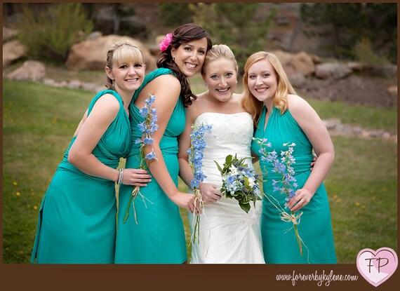 Jade Green Bridesmaids Wrap/Twist Dress...Wedding Party, Holidays, Prom, Cocktail Party, Honeymoon, Beach