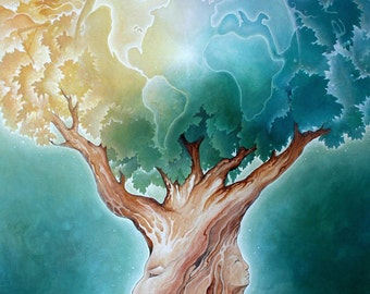Earth Tree -  8 x 10 Tree of Life Art Print - Painting