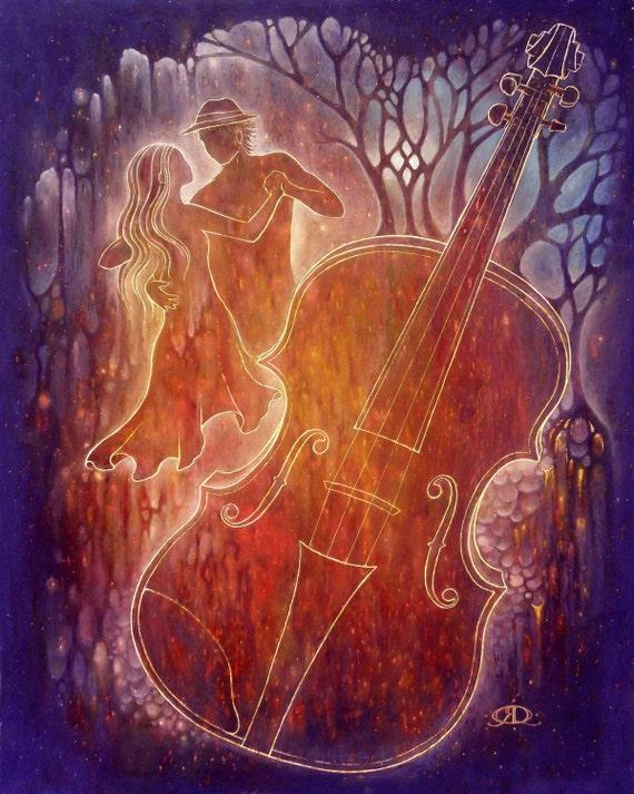 The Purple Fiddle - Art Print - Oil Pastel Etching
