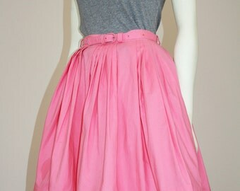 vintage 1950s 1960s NEW LOOK mad men secretary pink gathered cotton circle full day skirt small xs