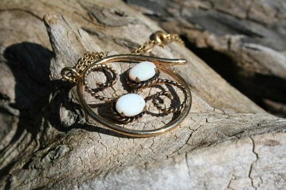vintage mid century 12K GOLD Fill OPAL gemstone necklace