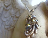 Upcycled Necklace Vintage Sterling Silver Leaf  and Crystal  Pendant Necklace