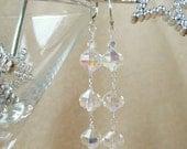 Vintage Crystal and Sterling Silver Earrings Glamorous Retro Elegant Clear Crystal Drop Earrings