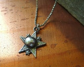 Rustic Star Pendant Vintage Sterling Silver Sorority Charm Necklace