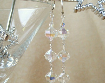 Vintage Crystal and Sterling Silver Earrings Glamorous Retro Elegant Clear Crystal Drop Earrings