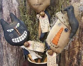 Primitive halloween Pattern/ HALLOWEEN BOBBINS Instant Download/pdf pattern/primitive witch/primitive cat/primitive scarecrow/pokes/fall