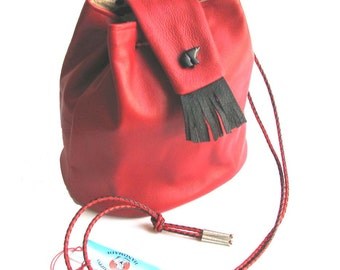 Red Bucket Bag Lambskin Drawstring Tote with Onyx Bear Handmade