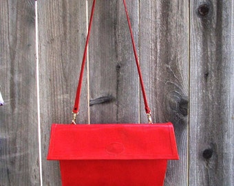 Red Embossed Lizard Cowhide Shoulder Bag and Clutch Handmade