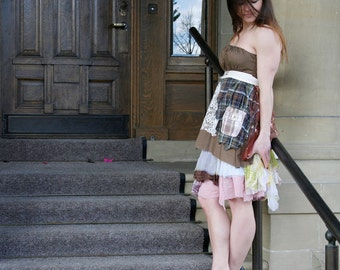 50% SALE upcycled clothing, ethical fashion, strapless tattered apron dress . S - M