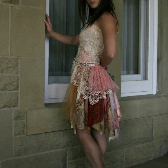 upcycled clothing . S - M . romantic tattered dress . unchain my heart