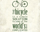 Bicycle is a Simple Solution Art Print in Pavement Grey