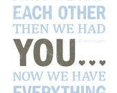 First we had each other then we had YOU Nursery wall decor in light blue and grey