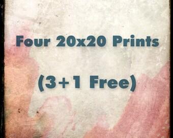 Four 20x20 Fine Art Prints - Your Choice - Custom Size Set - 3 plus 1 FREE - 25% OFF - Etsy Wall Art - TFTeam