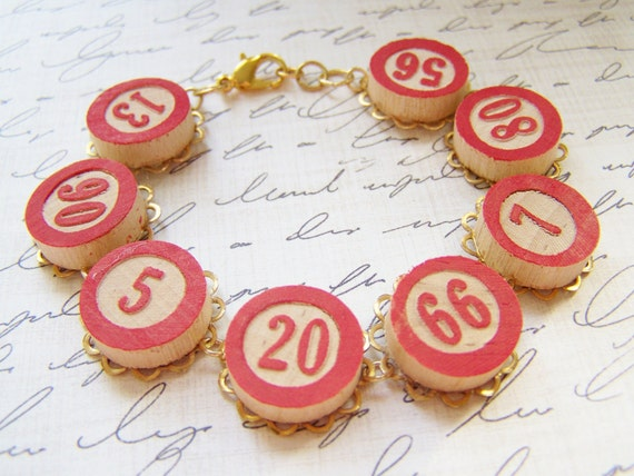 red vintage bingo piece bracelet ... lucky jewelry, vintage game pieces, cabochon bracelet, gambling grandma