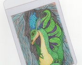 "Dragon Art, Fantasy, OOAK, Artist Trading Card, painting, green, purple, ""Young Dragon Prince"""