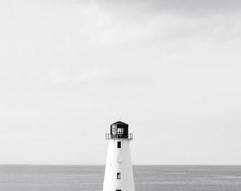 Lighthouse Photo - 8x10 Black and White Photo Print - Minimal Nautical Seashore Soft Grays - Beach House Decor