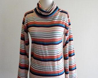 Cheery striped COWL neck 70s / 80s rainbow sweater sz. Small / Medium