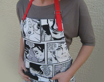 RETRO CARTOON Apron for Comics Fans Black White and Red