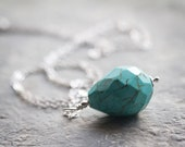 Turquoise Teardrop Necklace, Magnesite Tear drop, sterling silver chain, Beach jewelry, summer necklace, aqua blue
