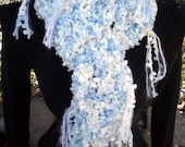 Sky Blue Poodle chunky warm Scarf in shades of blue and  white with all over fringe