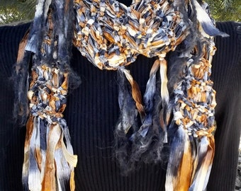 Copper, Grey, and White wide and silky soft Skinny Ribbon Scarf, long with all over fringe