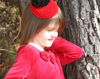 CROCHET PATTERN - Toddler To Pre Teen Size Coctail Hat Fascinator