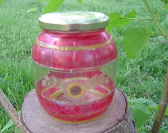 Red & Yellow Frost with Sunflower Upcycled Jar for Children's Missions Project - OOAK by an EtsyMom