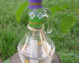 Oil & Vinegar Cruet Painted Bottle Upcycled  for Children's Mission Project - OOAK by an EtsyMom