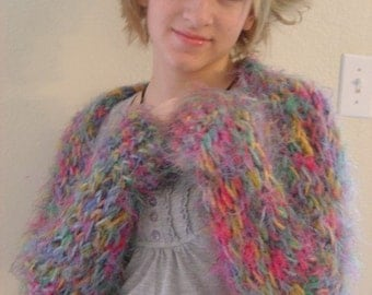 Shrug - Fruity Gem Rainbow Colors - Soft Fuzzy - OOAK Handmade by an EtsyMom