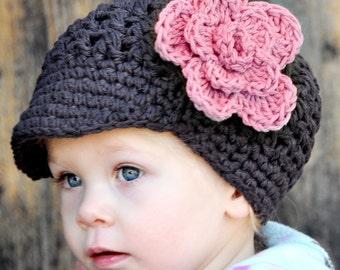 Newsboy/Newsgirl Visor Hat with Detachable Flower