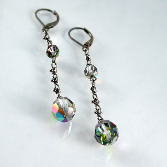 Crystal drop earrings vintage Swarovski smokey metallic on fancy gunmetal chain
