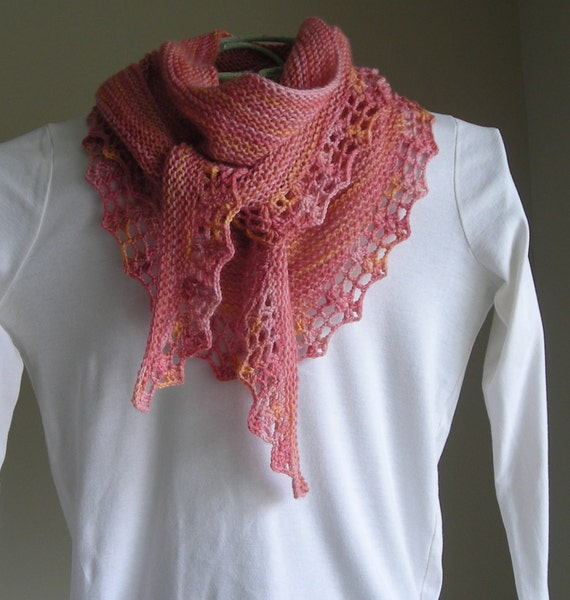 Knitted Scarf Pattern With Sock Yarn : Knitting Pattern Downloadable PDF Handpaint by lavenderhillknits