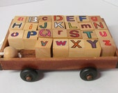 Wooden Alphabet Blocks in Wooden Wagon~Educational Toy~Classroom~Photo Prop~ Gift under 20~Toddler Toy~Developmental Learning Toy~Wooden Toy