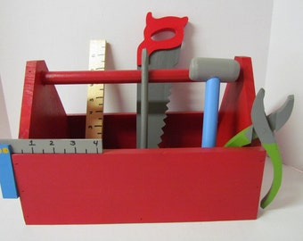 Child's Wooden Tool Box with Tools
