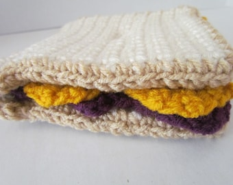 Amigurumi Crochet Peanut Butter and Grape Jelly Sandwich Play Food~Crochet Play Food~Amigurumi Food~Pretend Play~Child's Kitchen~Birthday