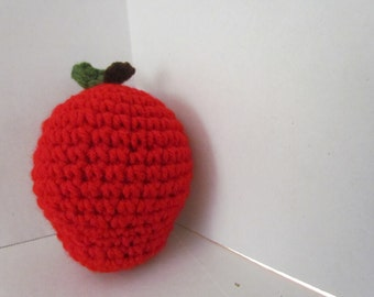 Apple/Red Apple/ Play Food/Children's Kitchen/Ready to Ship/Photo Prop/Play Fruit/Crochet Toy/Birthday/Gift under 5/Pretend Play/Amgurumi