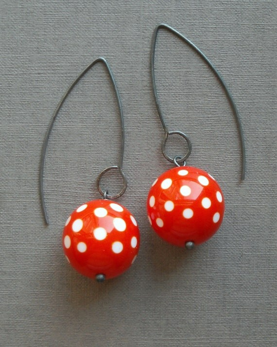 dixie earrings, orange - vintage lucite and sterling