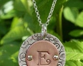 Sterling Silver & Copper Monogram Necklace - Unique Personalized Gift for Sister, Mother, Teacher Gift, Bridesmaid Gift, Mother's Day Gift