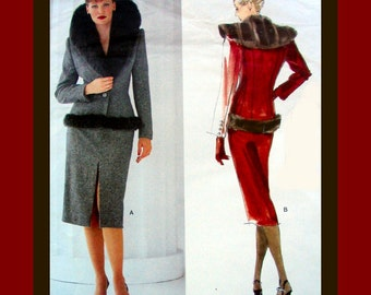 Vogue Paris Original-Designer Sewing Pattern-Givenchy- Stunning Fur Trimmed Jacket & Skirt-Uncut -Size 8-12-Mega Rare