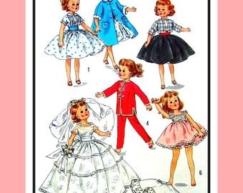 Vintage 1957 - Fashion Doll Wardrobe - Dress -Poodle Skirt -Petticoat-Coat -Wedding Gown- Peignoir - Sewing Pattern