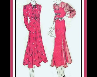 Vintage 1930s-Parisian Deco Style Afternoon Frock-Sewing Pattern-Three Styles-Shirred Bat Wings Sleeves-Bow Belt-Size 14-Rare-Collectibile